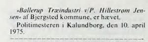 Trom sticks ophør 1975